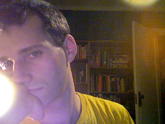 me with a haircut, slouching