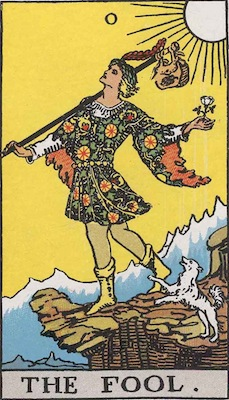 Rider-Waite tarot card of the fool, with man traipsing off cliff.